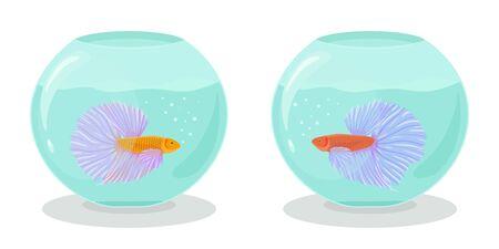 Aquarium fish cartoon illustration in flat style Vettoriali