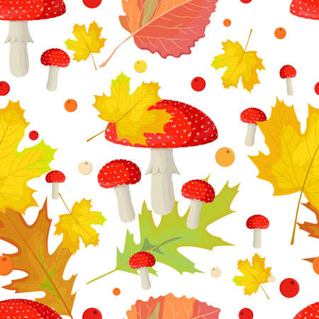 Seamless pattern with mushrooms, autumn leaves and berries. Forest ornament on white background.