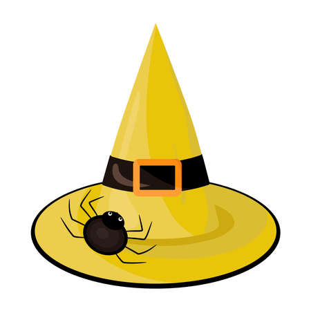 Halloween hat illustration in flat style. Witch's yellow hat with spider on white background. Иллюстрация
