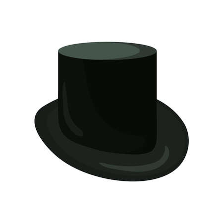 Tall hat cartoon illustration in flat style. Head wear for fancy-dress party on white background. Иллюстрация