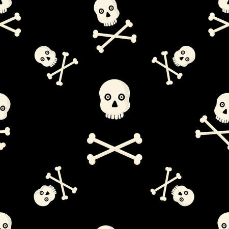 Seamless pattern with skulls and bones on black background