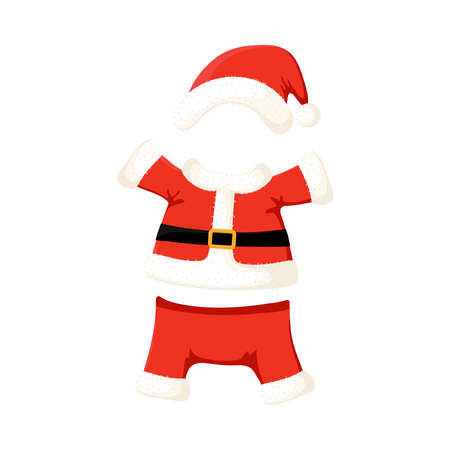 Santa Claus costume cartoon illustration isolated on white background. New Year and Christmas traditional clothes.