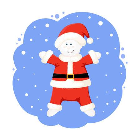 New year cartoon snowman illustration. Funny character of a snowman wearing Santa costume.