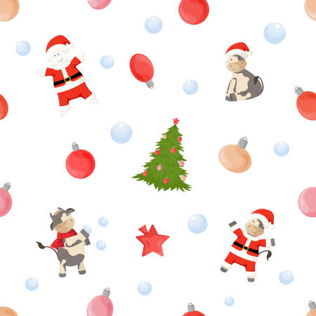 Seamless pattern with New Year symbols. Ornament with christmas tree, bulls and snowmen in Santa costume, balls.