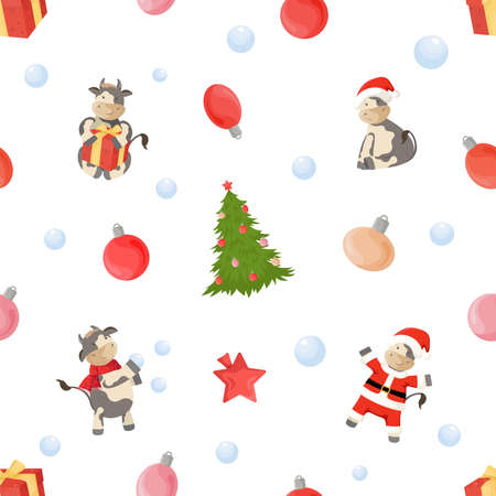 Seamless pattern with New Year symbols. Ornament with christmas tree, bulls, balls and gift boxes.