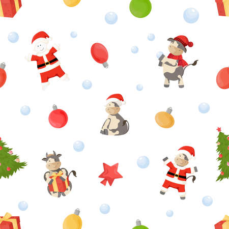 Seamless pattern with New Year symbols. Ornament with christmas trees, bulls and snowmen in Santa costume, balls. Vector Illustration