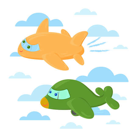 Cute cartoon airplanes illustration on the sky with clouds. Aircraft funny characters. Speed competition concept.