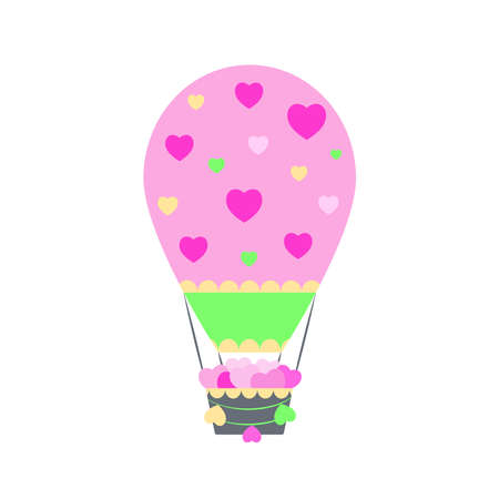 Cute cartoon air balloon illustration with basket and hearts on white background. Kids decoration. Travel, adventure concept. Valentines symbol.