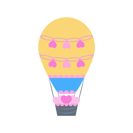 Cute cartoon air balloon illustration with basket and hearts on white background. Kids decoration. Travel, adventure concept. St Valentines symbol. 일러스트