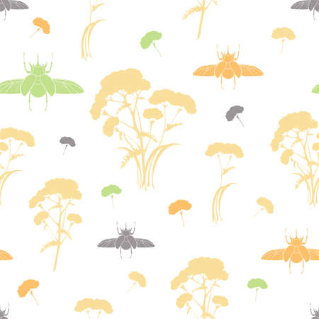 Seamless pattern with plants and bugs silhouettes. Botanical ornament with medicinal plants and insects on white and transparent backgrounds. Векторная Иллюстрация