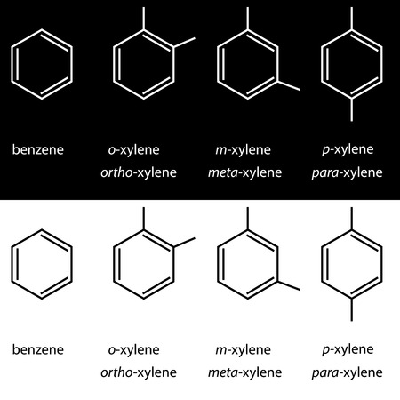meta: Molecule benzene, xylene ortho meta para isomers. Vector Illustration