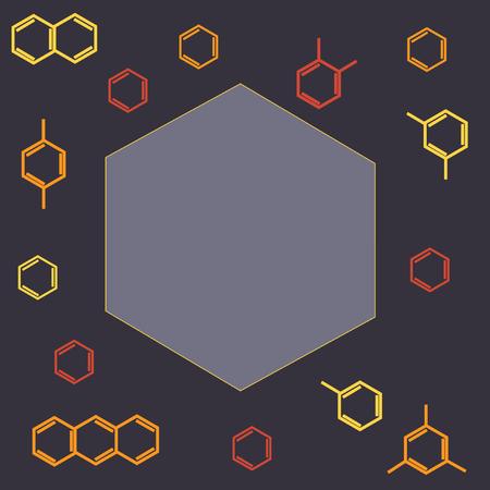 meta: Molecule benzene ortho meta para standing and naphthalene , anthracene; vector frame