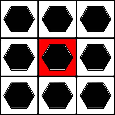 benzene: Square pentagon balck white red  pattern, background and texture Illustration
