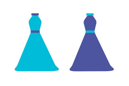 belts: Multicolored vector icon of two blue dresses with blue belts Illustration