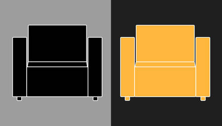 armchairs: Multicolored vector icon of orange and black armchairs