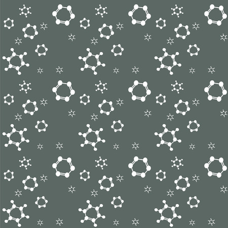 structural formula: Molecule benzene vector background, seamless pattern; grey