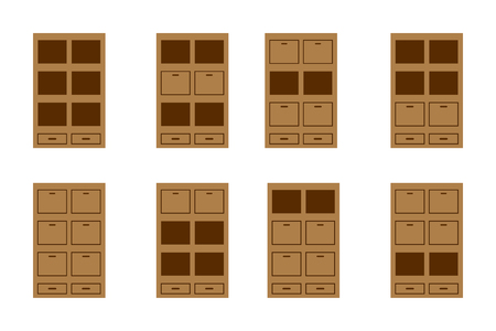 sideboard: Set icon of brown bookcases;