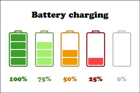 indicator: Multicolored vector illustration  of charging indicator