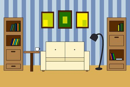 stripped: Multicolored Vector icon of interior living room:  sofa with backrest, two bookcases; white cup on table; stripped wall