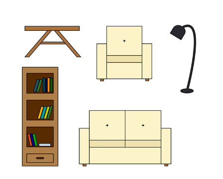 backrest: Multicolored Vector icon of sofa with backrest, amchair, table and floor lamp, bookcase with book