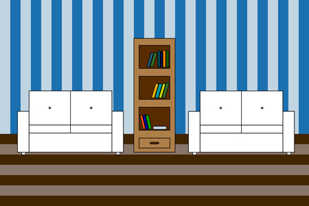backrest: Multicolored Vector icon of interior living room: two white sofa with backrest and  bookcase with books; stripped wall Illustration