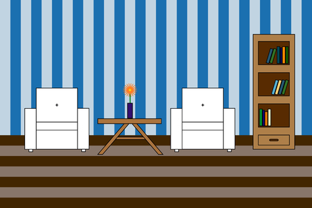 flower room: Multicolored Vector icon of interior living room: white amchairs with backrest and bookcase with books and flower on table; stripped wall Illustration