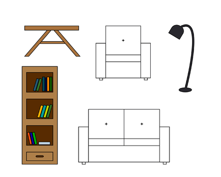 backrest: Multicolored Vector icon of white sofa with backrest, amchair, table and floor lamp, bookcase with book