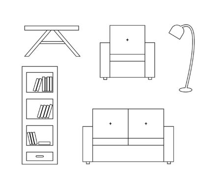backrest: Vector icon of white sofa with backrest, amchair, table and floor lamp, bookcase with book; black white
