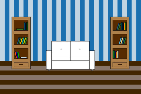 backrest: Multicolored Vector icon of interior living room: white sofa with backrest and two bookcases with books; stripped wall Illustration
