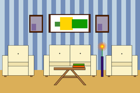 backrest: Multicolored Vector icon of interior living room:  sofa with backrest, two armchairs, two books on table; stripped wall