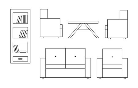 backrest: Vector icon of white sofa with backrest, armchairs, table, bookcase with book; black white