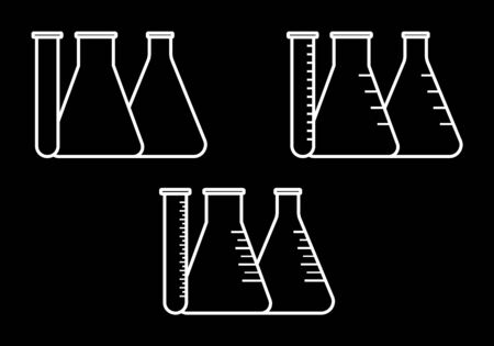 conical: Vector icon of conical flasks, graduated flasks with  wide neck and test tube on black background Illustration