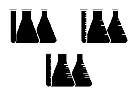 conical: Vector icon of conical flasks, graduated flasks with  wide neck and test tube on white background Illustration