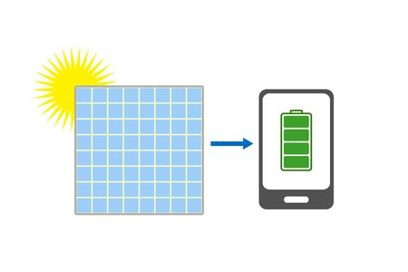 charged: Smartphone, solar battery, charged battery and sun Illustration