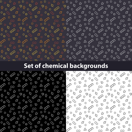 meta: Molecule benzene ortho meta para standing and naphthalene, anthracene; vector seamless pattern