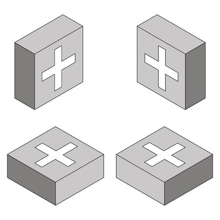 medicine chest: Vector icon of  medicine chest, isometric set