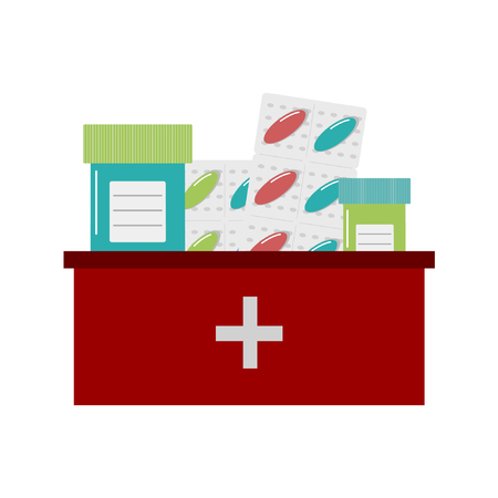 medicine chest: Multicolored vector icon of pills and bottles in medicine chest