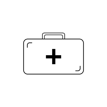 medicine chest: Vector icon of medicine chest with black cross