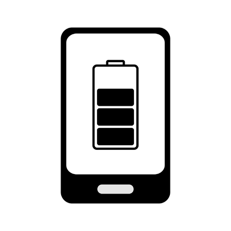 charged: Smart phone  charged battery, black white vector icon