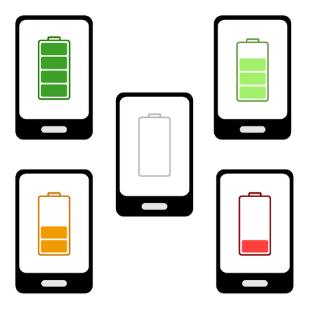 charged: Smartphone  charged battery Illustration
