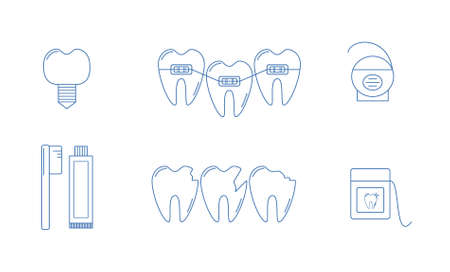 brace: Set of Vector illustrations of tooth, toothbrush, dental floss, dental implant and brace