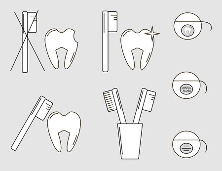 floss: Set of Vector illustrations of tooth, toothbrush and dental floss