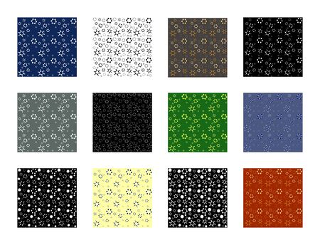 Set of chemical background. Vector seamless patterns. Vector illustrations of molecule benzene, xylol, xylene and naphthalene, anthracene