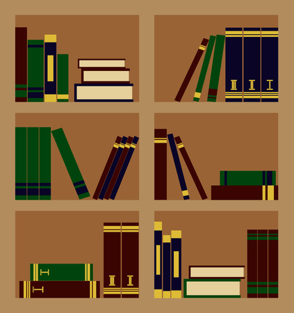 bookcase: Vector illustration of wooden bookcase with books Illustration