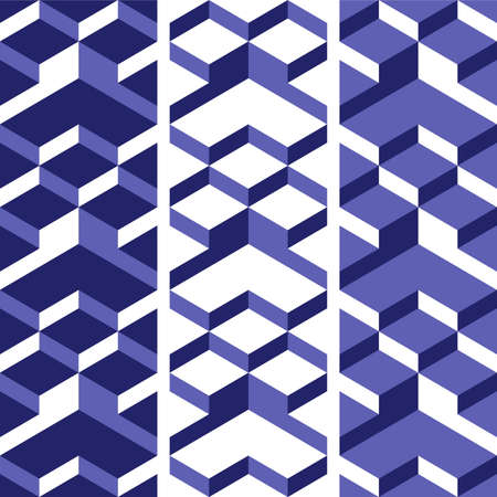 blue backgrounds: Set of isometric backgrounds. Vector seamless patterns. Blue backgrounds.