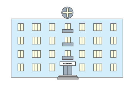 hospitalization: Multicolored vector icon of hospital. Vector illustration