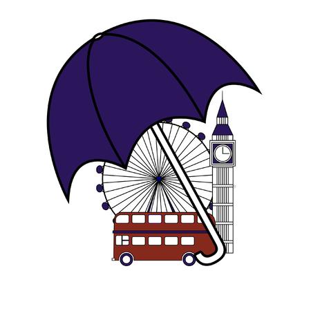 Multicolored Vector set of London symbols. Illustration