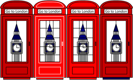 telephone box: Multicolored Vector London city concept. Big Ben and telephone box. Go to London. Illustration