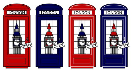 telephone box: Multicolored Vector London city concept. Big Ben and telephone box. Set of telephone boxes. Vector illustration
