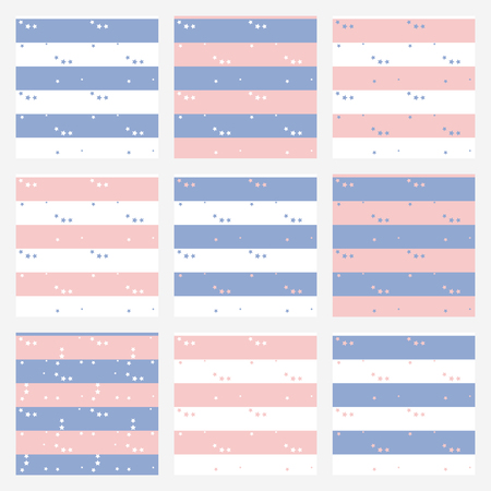 Set of vector blue and pink backgrounds, seamless pattern star for boy and girl. Trendy color Rose Quartz and Blue Serenity. Vector illustration.